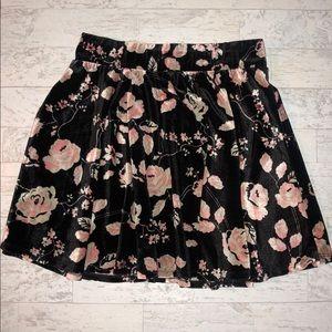 NWOT Freshman Floral Velvet Skater Skirt